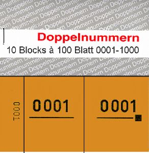 Doppelnummern 0001 - 1000 orange